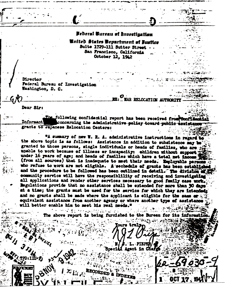 Internment Archives: Confidential informant report on