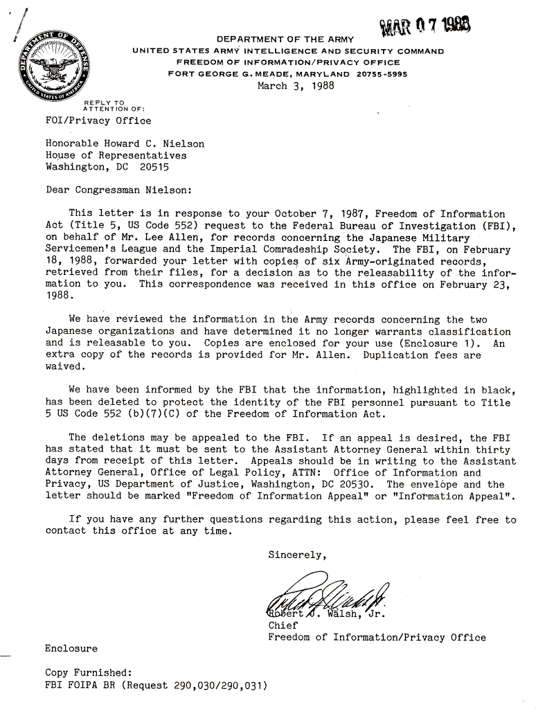 internment archives  army letter to rep  nielson on